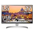 LG モニター ディスプレイ 27UL850-W 27インチ/4K/DisplayHDR400/IPS非光沢/USB Type-C、DP、HDMI×2/スピーカー/FreeSync/高さ調節、ピボット