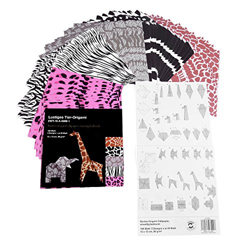 Divertido animal de Origami Papel, papel para manualidades, 100hojas, 5diseños, 15x 15cm, con instrucciones
