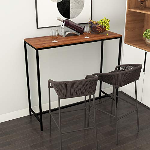 LEPAK Bar Table Breakfast Table Kitchen Dining Table Coffee Table in Black Frame with Footrest for Bar Restaurant Pub Home Bar Table (110 x 40 x 100 cm)