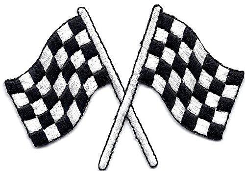 LipaLipaNa Racing-Checkered Crossed Flags Aufbügeln PatchRacing, NASCAR, Autorennen, Andenkenzubehör für Fahrzeugapplikationen