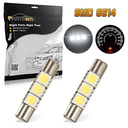Partsam 29mm 6614F LED Light Bulbs for Car Interior Vanity Mirror Lights Sun Visor Lamps(2Pcs White)