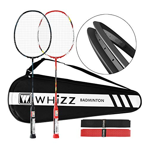 WHIZZ Heavy Duty Graphite Badminton Racket, Full Carbon Fiber Professional Set for Adults, with Badminton Bag & 2 Racquet Grip...