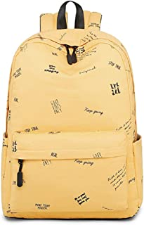 JIUFENG Girl Schoolbag Printed Korean Simple Cotton Backpack for Leisure Travel… (Yellow)