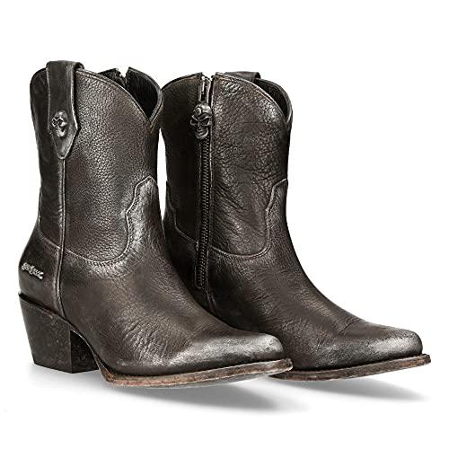 NEW ROCK Botas de mujer de lujo color plata efecto metalizado Woman Boots silver metallic luxe (numeric_41)