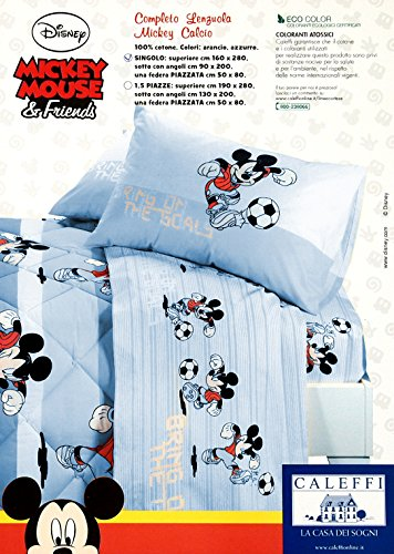 Completo letto UNA PIAZZA Disney MICKEY Calcio Var. AZZURRO N°60