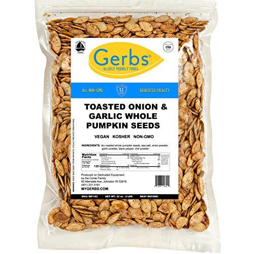 GERBS Toasted Onion, Garlic Whole Pumpkin Seeds, 32 ounce Bag, Roasted, Top 14 Food Allergy Free, Non GMO, Vegan, Keto, Paleo Friendly