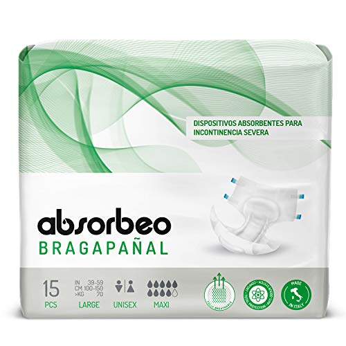 Bragapañal Maxi - Dispositivos Absorbentes para Incontinencia Severa, Unisex, Talla L (15 piezas por paquete) 🔥