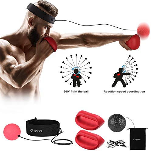 CLISPEED Boxen Training Ball Boxing Reflex Ball Boxballl mit Stirnband und Handschuhen für Verbessern Sie Schlaggenauigkeit, Timing, Reflexe und Koordination