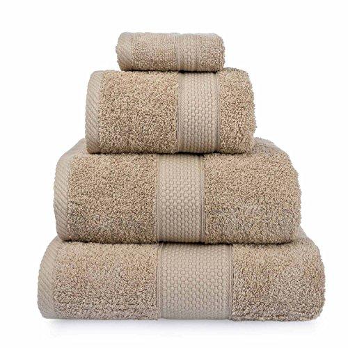 HOMESCAPES Toalla de Manos, 100% algodón Turco Absorbente y Suave, Color Marrón-Beige 50 x 90 cm