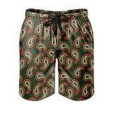 OwlOwlfan Paisley - Pantalones cortos de playa para hombre, estampado de moda, con bolsillos elásticos con cordón para deportes informales y gimnasio