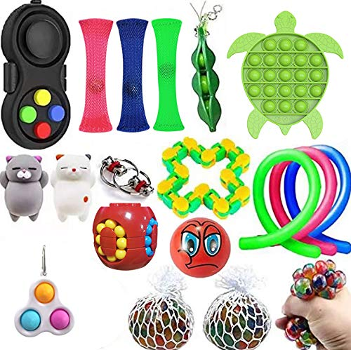 Sensory Fidget Toys Set, Stress Relief and ADHD Autism Cube Top Toy for Kids and Adults, Pack of Squeeze Balls, Soybean Squeeze, Push pop Bubble Fidget Toy (Pattern B, One Size)
