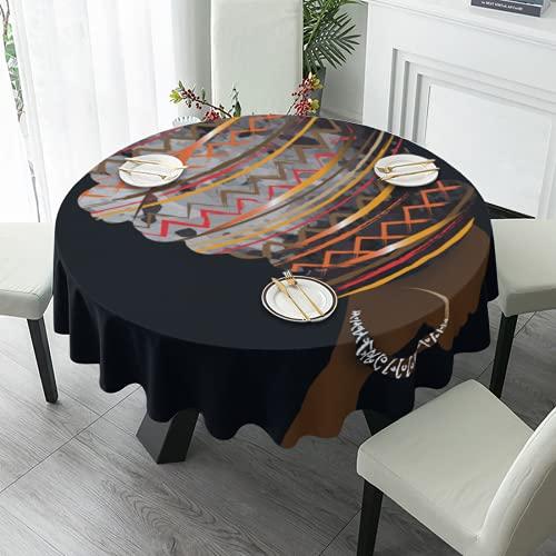 Hermosa mujer africana redonda mantel de poliéster lavable 152 cm cubierta de mesa para cocina fiesta café bar comedor mesa decoración