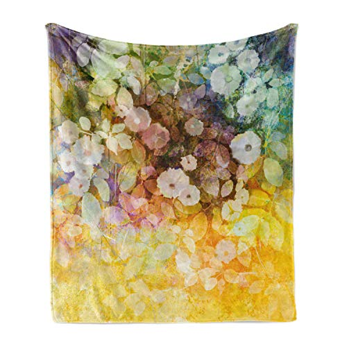 Lunarable Flower Soft Flannel Fleece Throw Blanket, Colorful Vintage Trippy Floral Garland with Soft Romantic Valentines Inspired Leaves, Cozy Plush for Indoor and Outdoor Use, 70' x 90', Multicolor