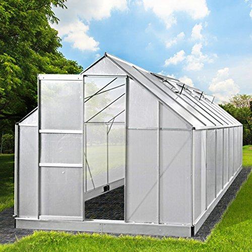 BRAST Gewächshaus Aluminium mit rostfreiem Stahlfundament 19,6 m³ Alu Gartenhaus 490x250x205cm Treibhaus Glashaus 6mm Platten