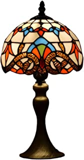 Tiffany Style Lamps Baroque Small Table Desk Light 15 Inches Tall Stained Glass 8 Inches Wide Lamp Shade Vintage Victorian Accent Lamp for Living Bedside Coffee Room College Dorm