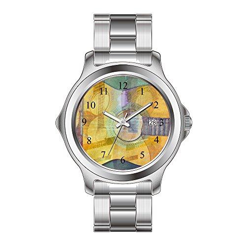 FDC Weihnachten Geschenk Uhren Damen Fashion Japanisches Quarz-Datum Edelstahl Armband Armbanduhr Abstrakt Akustische Gitarre Armbanduhr