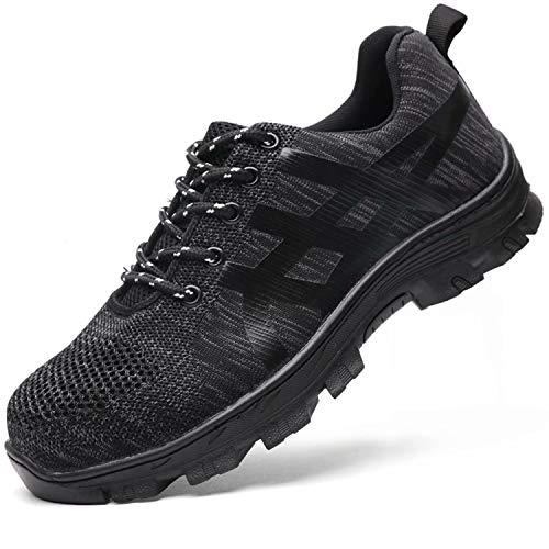 TQGOLD® Sicherheitsschuhe Herren Damen S3 Arbeitsschuhe Leicht Sportlich Sneaker Schutzschuhe mit Stahlkappe Schwarz Größe44
