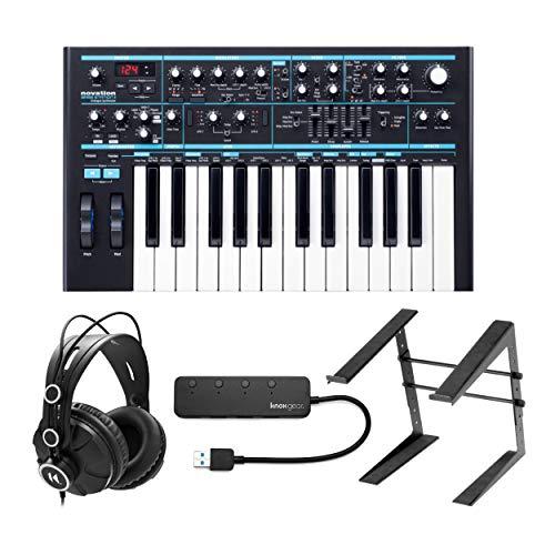 Novation Bass Station II Analog Synthesizer Bundle with Knox Gear Closed-Back Studio...