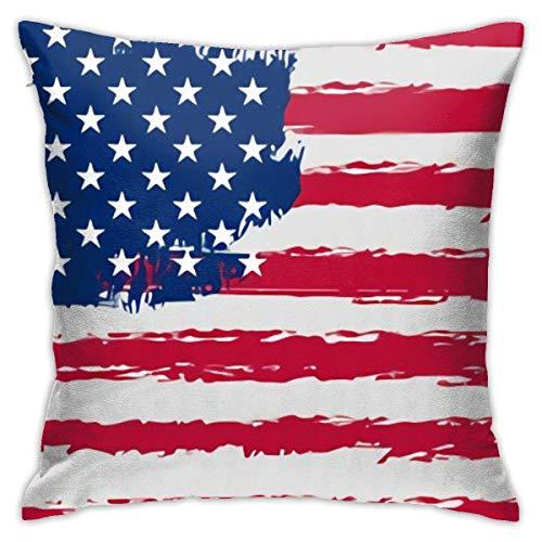 QUEMIN Fodere per Cuscini Grunge Stati Uniti d'America Bandiera Federa per Cuscino Fodera per Cuscino Moderna Fodera per Federa Quadrata Decorazione Divano Letto Sedia Auto 45x45 cm