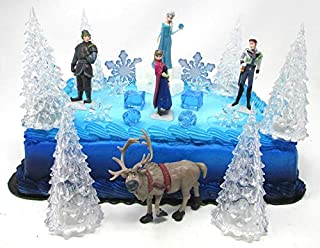 Frozen Queen Elsa and Friends Deluxe Birthday Cake Topper Set Featuring Frozen Characters and Themed Decorative Accessories