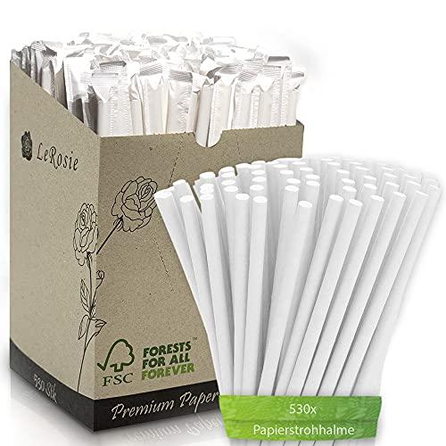 Premium Papierstrohhalme Strohhalme   Einweg Trinkhalme 100% nachhaltige Papiertrinkhalme   3-Lagen gewickelt robust & stabil   Strohhalme Papier 6mm x 197mm (530 Stück, Weiß verpackt)