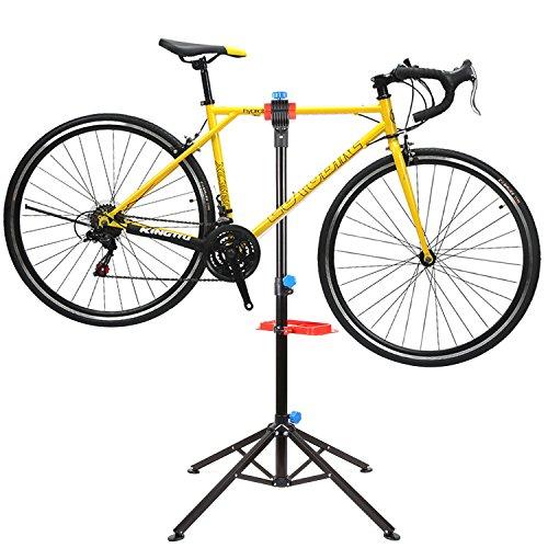 Fahrradmontageständer, Fahrrad Reparaturständer mit Werkzeugablage, Höhenverstellbar & Klappbar, Belastbar bis 50kg, Vierbeiniger Ständer für Fahrradreparatur