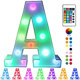 Pooqla Colorful LED Marquee Letter Lights with Remote – Light Up Marquee Signs – Party Bar Letters with Lights Decorations for The Home - Multicolor A