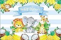 男の子のベビーシャワーの動物のための新しい5x3ft青い象の背景フルーツパーティーの写真の背景男の子のベビーシャワーのパーティーの装飾保育園の活動赤ちゃんの部屋の写真撮影の小道具の壁紙