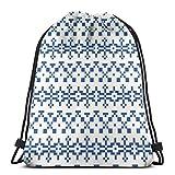 Jhonangel Indigo Stitch Ligero Impermeable Bolsa con Cordón Deporte Gimnasio Saco Bolsas Mochila para Hombres Mujeres Niños 36 x 43 cm / 14.2 x 16.9 Pulgadas