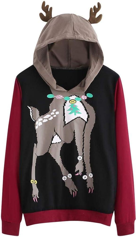 Girls' Hoodie, Misaky Spring Autumn Casual Cute Deer Print Long Sleeve Hooded Pullover Sweatshirt Blouse Tops