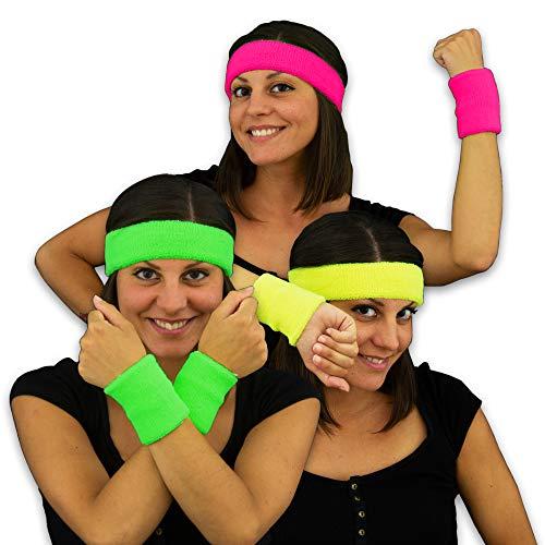 Eventlights Neon 80er Schweißbänder - 3 Farben Set - pink, grün, gelb - Armbänder - Stirnbänder - Leuchten in UV Schwarzlicht