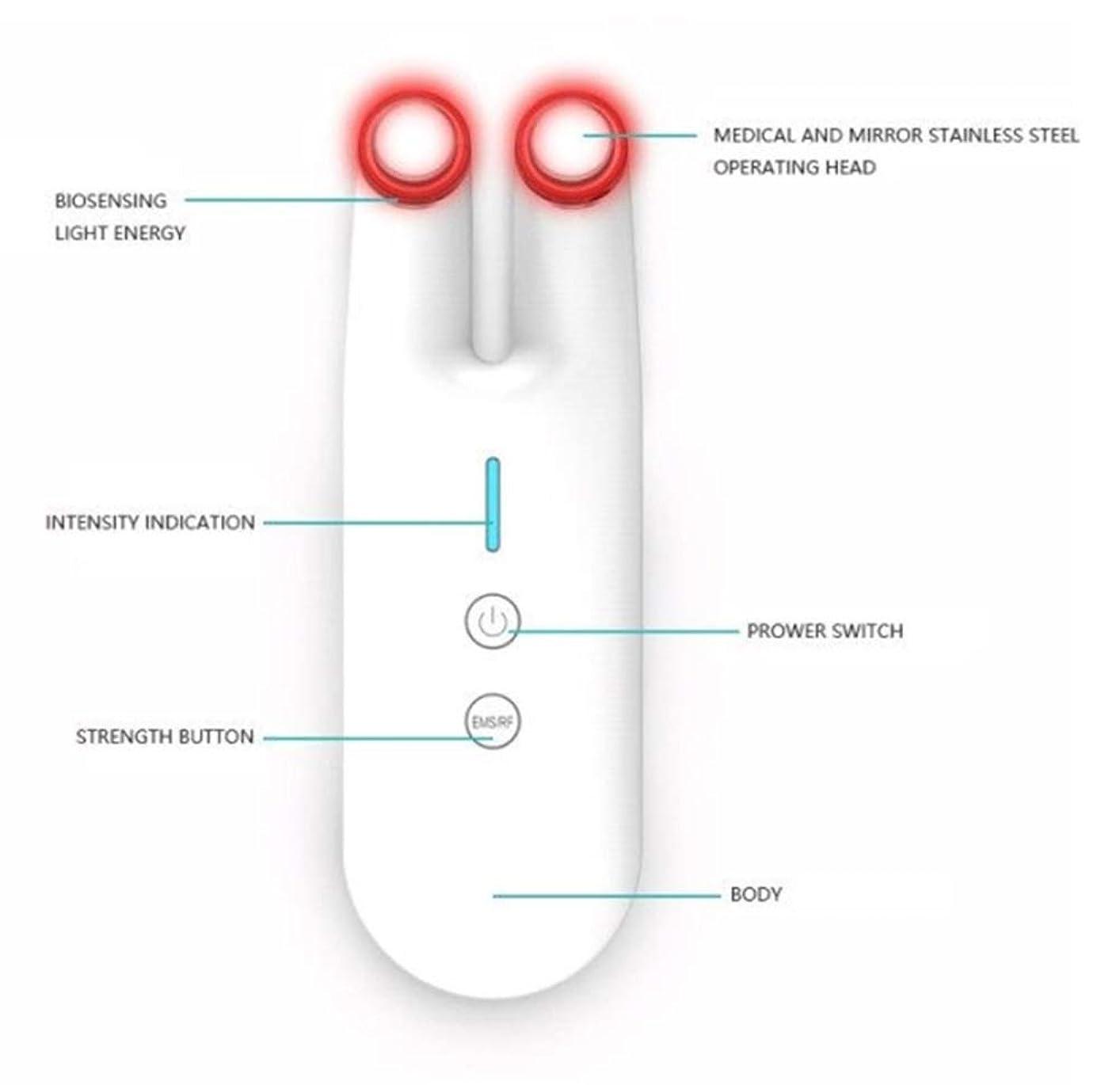補助盆ヒールアンチエイジングフェイシャルマッサージ、しわ、にきび、肌の引き締め、ホームスキンケアアイケア、スキンリフティング用EMS Microcurrent RFレッドライトマシン (Color : White)