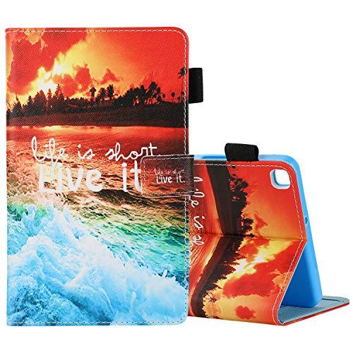 Custodia per Samsung Galaxy Tab A 8.0 2019 SM-T290/T295-Slim Fit Folio Custodia protettiva in pelle PU multi-angoli (sunset)