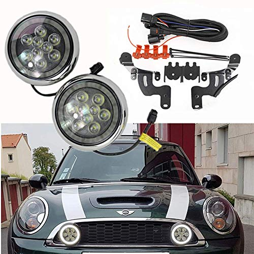 Mini Led Rally Lights - NSLUMO Led Daytime Running Lights with Halo Ring for R50 R52 R53 Mini Cooper 2001-2006 Super Bright DRL Led Daytime Driving Lamp Projector
