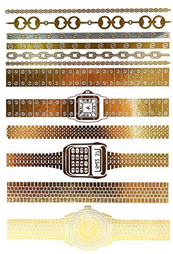 Oh My Shop - TAB22 - Planche Tattoo Tatouage Ephémère Body Art Montres et Bracelets - Or