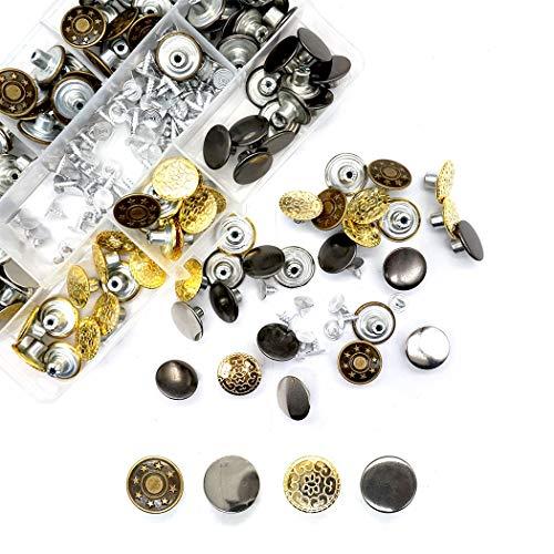 HEEFEN 120 botones de metal para vaqueros con 4 diseños de pantalones, 17 mm, con 2 cajas de almacenamiento