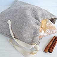 Handmade Natural Linen Bread Bag for Round Loaf, 10x10 Inch, Reusable Eco Friendly Packaging, Kitchen Food Storage…