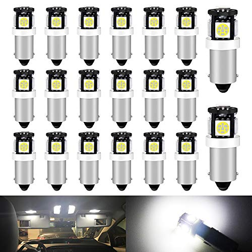 Qoope BA9 BA9S LED Blub BA9S 53 57 LED Bulb 12V 5050 5SMD 1895 64111 LED Bulb For Truck Car interior Map Dome LED Bulb Reverse Lights Parking lights License Plate lights, Pack of 20 (White)