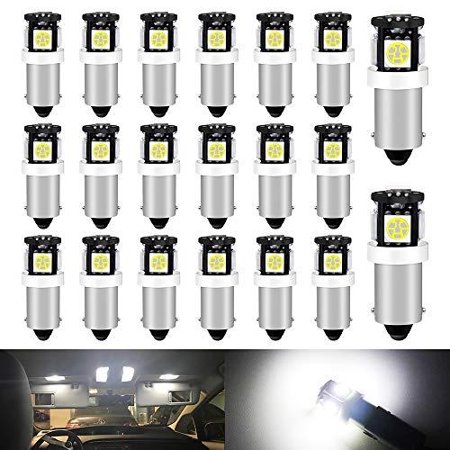 DEFVNSY - Paquete de 20 - Bombillas LED BA9S T4W T11 Blanco 5050-5SMD 64111 64113 para Coche Lámpara de Lectura Interior LED Luz de matrícula Luz de Marcador Lateral Luz de Puerta DC 12V
