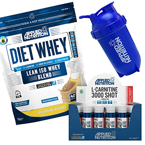 Applied Nutrition Bundle Diet Whey Protein Powder Low Carb Low Sugar 1kg + L Carnitine Liquid 3000 Shot 24 x 38ml + 500ml Bullet Protein Shaker (Banana)