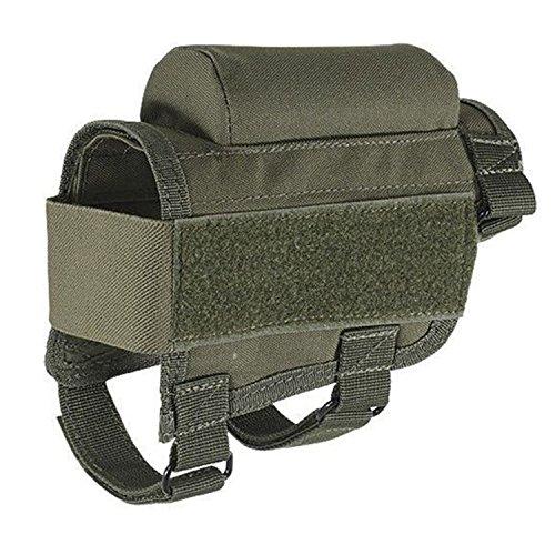 YUEWO Neu Jagd Taktische Gewehrschafttasche Gewehr Munition Rest Halter Tasche, verstellbar für Rechte/Linke Hand ButtstockTaktische Shell Holder Pouch Gewehrschaft-Tasche (Gr�n)
