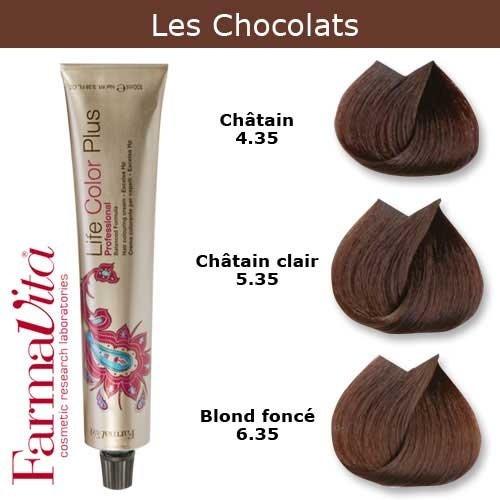 Coloration cheveux FarmaVita - Tons Chocolats Blond foncé chocolat 6.35