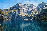 Rompecabezas para Adultos Kandersteg Lake Switzerland Puzzle 1000 Piezas Regalo de Recuerdo de Viaje de Madera