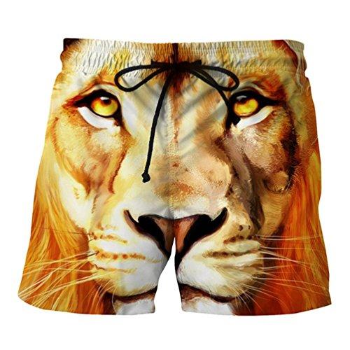Vovotrade strandshorts broeken zomervakantie heren tieners jongens leeuw gedrukt strand werk los casual mannen korte broek shorts broek