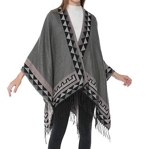 FRAUIT Damen Kreuzfalten Jacke Bohemia Quasten gestrickt Kaschmir Ponchos Schal Cardigans Sweater Coat Schottischer Stil Kurzmantel