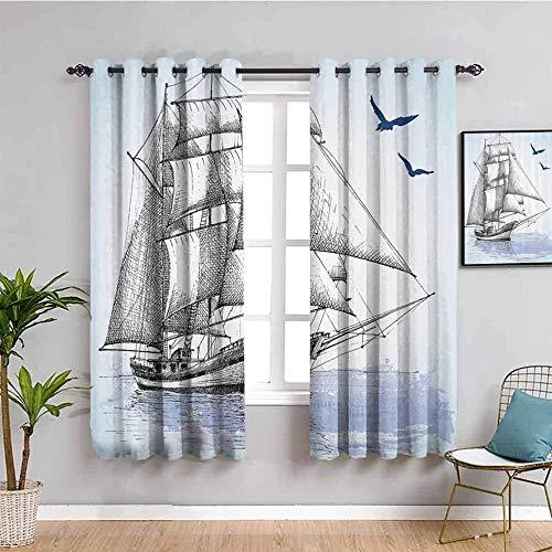 Azbza Cortinas Opacas Salón - Pintura barco mar azul - 90% Opacas Proteccion Intimidad - W140 x H160 cm - Salón Dormitorio Cortina Gruesa y Suave para Oficina Moderna Decorativa Cortinas