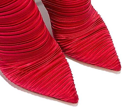 botas de Moda para mujer Tela elástica botas clásicas de otoño e Invierno Tacón de Aguja Punta Estrecha botas a Media Pierna Corbata de Cinta negro Beige rojo Boda Fiesta y Noche,rojo,US8 EU39