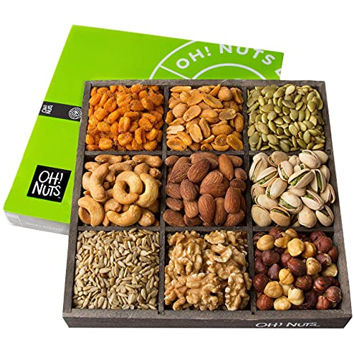 Oh! Nuts Holiday Nuts Gift Basket, 9 Variety Mixed Nut Assortment Wood Tray Baskets, Gourmet Roasted Healthy Fresh Food Care Package for Rosh Hashanah, Corporate Gift Idea for Men and Women - (Large)