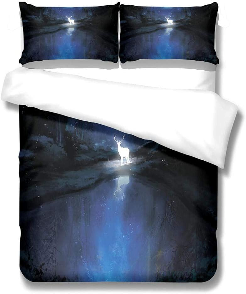 HKDGHTHJ King Max 61% OFF Duvet Cover Set 61X87 Night View Be Deer Daily bargain sale Beautiful
