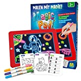 Mediashop Magic Pad | Zeichenbrett | Farbstifte mit 6 Neonfarben | Schablonen zum Ausmalen, Zeichnen, Schreiben & Rechnen | Schreibplatte | Maltafel | Das Original aus dem TV (Version 2019) -